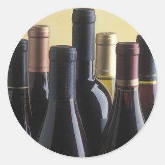 wine bottles round sticker