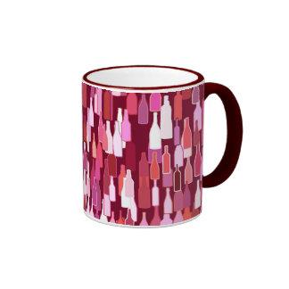 Wine bottles, shades of plum, burgundy background ringer coffee mug