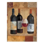 Wine Bottles with Glass Post Card