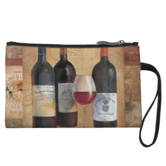 Wine Bottles with Glass Wristlet Wallet