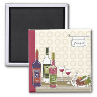 Wine bottles with wineglasses on table magnet