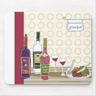 Wine bottles with wineglasses on table mouse pad