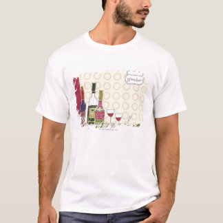 Wine bottles with wineglasses on table T-Shirt
