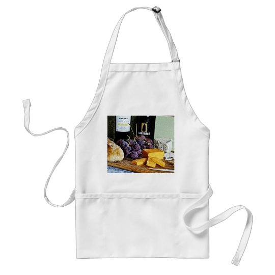 Wine Bread Cheese and Grapes Still Life Adult Apron