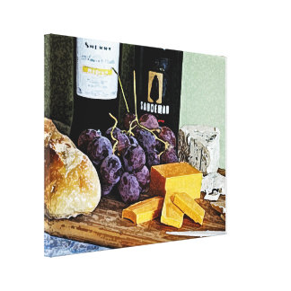 Wine Bread Cheese and Grapes Still Life Canvas Print