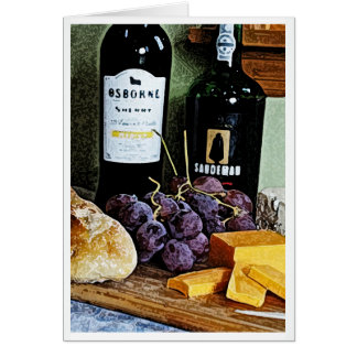 Wine Bread Cheese and Grapes Still Life Card