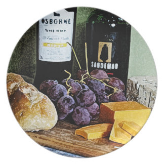 Wine Bread Cheese and Grapes Still Life Dinner Plate