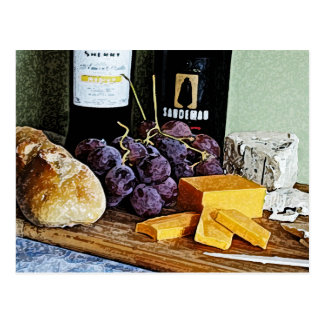 Wine Bread Cheese and Grapes Still Life Postcard
