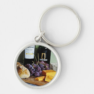 Wine Bread Cheese and Grapes Still Life Silver-Colored Round Keychain