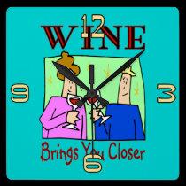 Wine Brings You Closer wall clocks