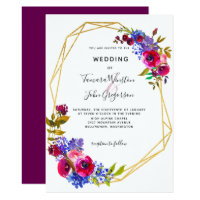 Wine Burgundy Blue Rose Gold Geometric Wedding Invitation