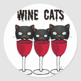WINE CATS RED WINE GLASSES AND CATS PRINT CLASSIC ROUND STICKER