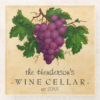 Wine Cellar Vintage Grapes Add Personalized Name Glass Coaster
