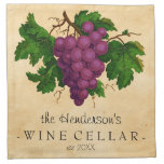 Wine Cellar with Grapes Vintage Personalized Name Cloth Napkins