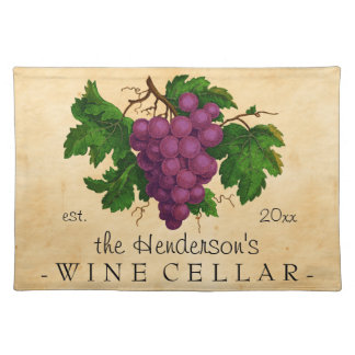 Wine Cellar with Grapes Vintage Personalized Name Cloth Placemat