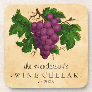 Wine Cellar with Grapes Vintage Personalized Name Coaster