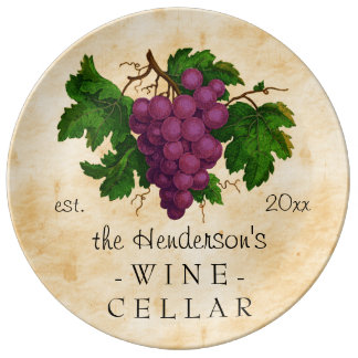 Wine Cellar with Grapes Vintage Personalized Name Dinner Plate