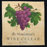 """Wine Cellar with Grapes Vintage Personalized Name Napkin<br><div class=""""desc"""">Create your own, custom vintage-looking wine cellar cloth napkins with this easy template. These elegant napkins feature an antique cluster of purple grapes, recolored and brightened so they contrast nicely against the aged, slightly stained parchment background. The text reads [Your Name&#39;s] Wine Cellar, established [year]. All text can be changed...</div>"""
