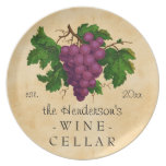 Wine Cellar with Grapes Vintage Personalized Name Plate