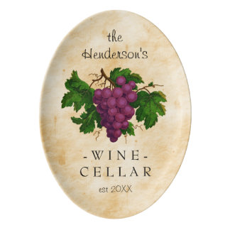Wine Cellar with Grapes Vintage Personalized Name Porcelain Serving Platter