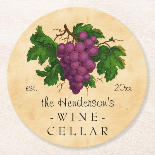 Wine Cellar with Grapes Vintage Personalized Name Round Paper Coaster