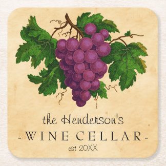 Wine Cellar with Grapes Vintage Personalized Name Square Paper Coaster