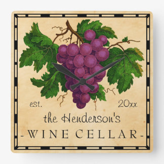 Wine Cellar with Grapes Vintage Personalized Name Square Wallclocks
