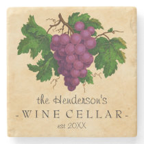 Wine Cellar with Grapes Vintage Personalized Name Stone Coaster