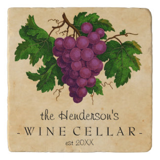 Wine Cellar with Grapes Vintage Personalized Name Trivet