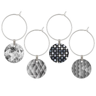 Wine Charm Collection - Modern Gray, Silver design