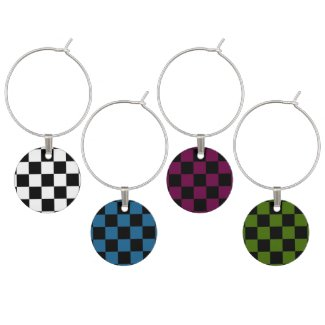 Wine Charms with Checkered Design