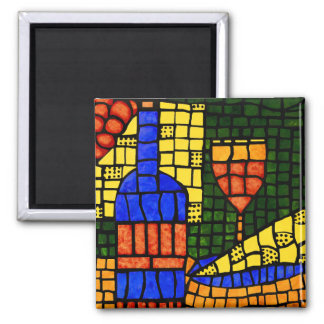 Wine Cheese Colorful  Bold Colored Bar Vino Magnet