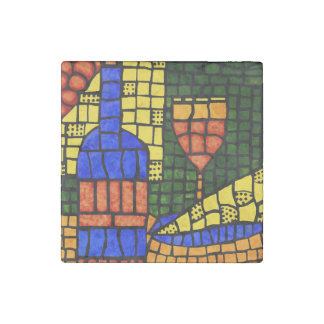 Wine Cheese Colorful Pop Art Bold Colored Bar Vino Stone Magnet
