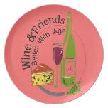 Wine Cheese Friends Melamine Plate