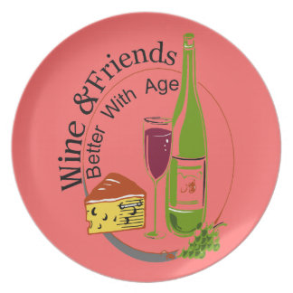 Wine Cheese Friends Melamine Plate