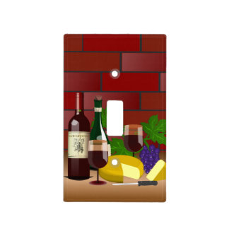 Wine Cheese Kitchen Scene Light Switch Cover