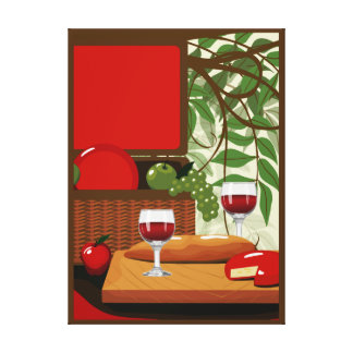 Wine Cheese Medium Kitchen Wrapped Canvas
