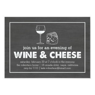 Wine Cheese Party Black White Chalkboard Invitation