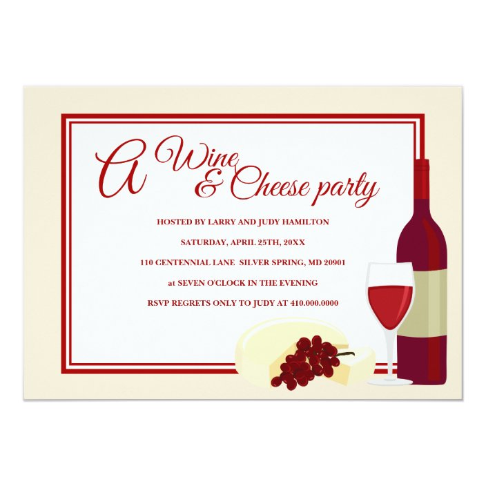 Wine Cheese Party Invitations