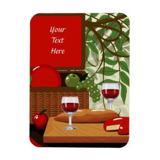 Wine Cheese Photo Magnet