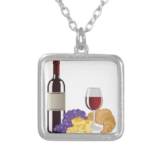 Wine & Cheese Silver Plated Necklace