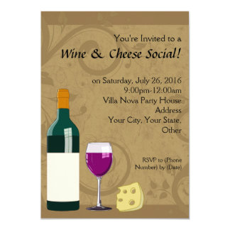 "Wine & Cheese Social Party Flat Invitations 5"" X 7"" Invitation Card"