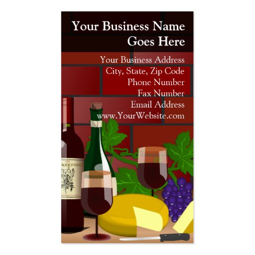 Wine Cheese Table Scene Business Card Templates