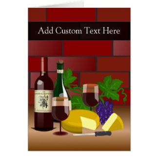 Wine Cheese Table Scene Greeting Card