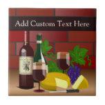 Wine Cheese Table Scene Ceramic Tile