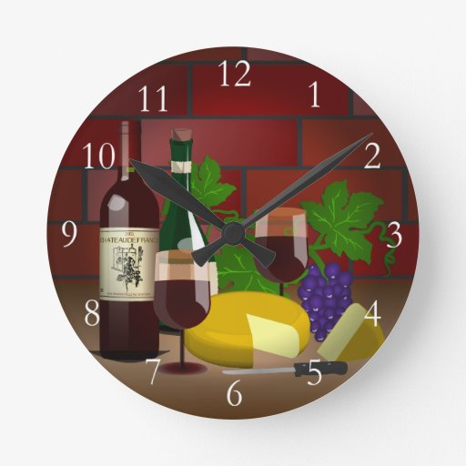 Wine Cheese Table Scene Clocks
