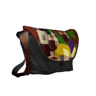 Wine Cheese Table Scene Courier Bag