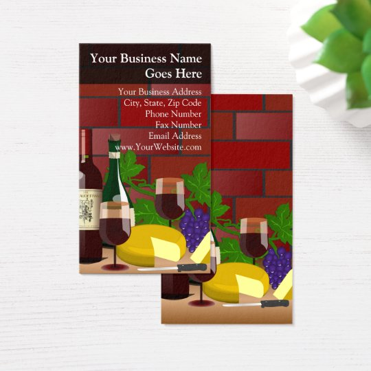 Wine Cheese Table Scene Food Restaurant Italian Business Card