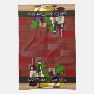 Wine Cheese Table Scene Kitchen Towels