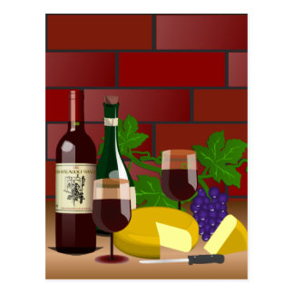 Wine Cheese Table Scene Postcard
